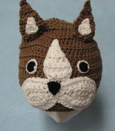 Boston Terrier Hat Crochet Pattern by DonnasCrochetDesigns on Etsy, $1.99