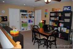 upstairs homeschool room  Few other ideas here: http://christianhomeschoolmoms.com/top-10-homeschool-room-ideas/