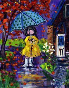 Yellow Raincoat by Katerina Mertikas, Acrylic on Canvas, Painting | Koyman Galleries