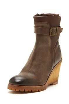 """Wedge Bootie in buttero-brown by INK $425 - $183 at HauteLook. - Rounded toe - Strap and side buckle closure - Side zip shaft closure - Contrast knit upper - Crepe wedge heel - Traction sole - Approx. 3.75"""" heel - Approx. 6"""" shaft height, 10.5"""" shaft circumference - Made in Italy Additional Information Sizing is Italian Leather/suede upper, rubber sole"""