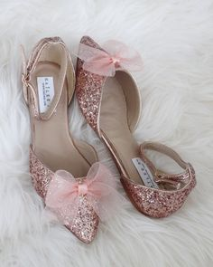 Rose Gold Rock Glitter Ankle Strap Flats with Organza Bow - Women Shoes, Bridal shoes, Bridesmaid shoes – Kailee P. Pretty Shoes, Beautiful Shoes, Cute Shoes, Me Too Shoes, Fancy Shoes, Cute Flats, Ankle Strap Flats, Pointy Toe Flats, Ankle Straps