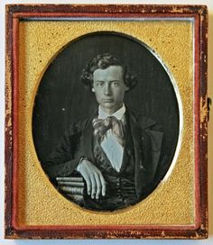 Early Daguerreotype Handsome Young Gent Books Fancy Bow Tie 1/6 Plate in Collectibles, Photographic Images, Vintage & Antique (Pre-1940), Daguerreotypes   eBay