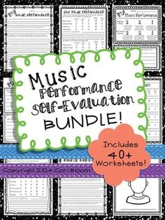 Performance Self Evaluation Worksheets, Bundle : Music Performance Self-Evaluation, Bundled Set. off & with code TPTXO Piano Lessons, Music Lessons, Middle School Choir, Piano Teaching, Learning Piano, Teaching Tools, Music Journal, Curriculum Mapping, Elementary Music
