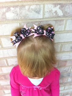 Black with Pink Bubbles Pigtails by TutusNBows4u on Etsy, $5.00
