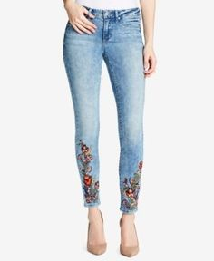 Jessica Simpson Juniors' Kiss Me Embroidered Skinny Jeans - Blue 29