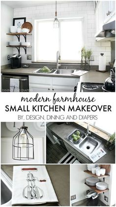 Small Kitchen Makeover with a Modern Farmhouse Style - great ideas for decorating a small space on a budget! http://designdininganddiapers.com
