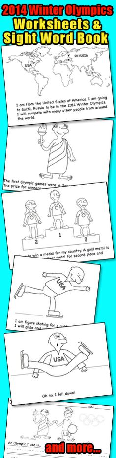Winter Olympics in the classroom. Funny Olympic Sight Word Book and Worksheets for 2014 Winter Olympics