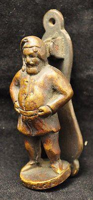 Rare Antique Brass Santa Claus Figural Door Knocker