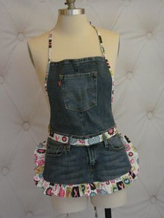Denim Blue Jean Ruffle Apron - Pink Ribbon Garden Kitchen Craft