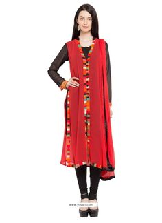 Vibrant Georgette Red Lace Work Readymade Suit Model: YOS7850
