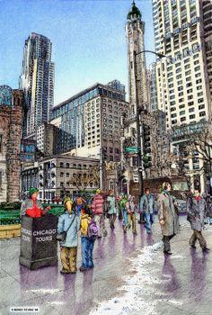 Chicago Trolley.  Rendering by Bondy Studio.
