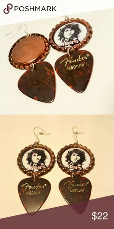 Jim Morrisom The Doors Handmade Bottle Cap Earring Handmade Jim Morrison Bottle Cap Earrings   Make a statement with these bottle cap earrings, with Fender guitar Pick decoration. Truly unique!  Perfect New Condition, Never Used  VINTAGE Inspired Handmade Jewelry Earrings