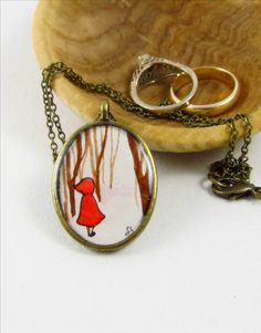 Little Red Riding Hood -- Original Wearable Art Pendant Necklace in Brass  http://www.sarahlambertcook.com/collections/necklaces/products/little-red-riding-hood-original-wearable-art-pendant#