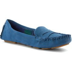 Hardy Design Works Women's Canterbury Loafers (130 CAD) ❤ liked on Polyvore featuring shoes, loafers, blue suede, moccasin shoes, wrap shoes, traction shoes, blue shoes and slip on moccasins