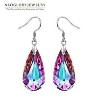 Neoglory MADE WITH SWAROVSKI ELEMENTS Crystal Purple Water Drop Dangle Earrings For Women 2017 New Style Gifts