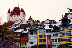 "Did you know that Thun is called ""The beautiful gate to the Swiss Alps""? Switzerland Itinerary, Lucerne Switzerland, Beaux Villages, Belle Villa, Swiss Alps, Places To See, Gate, Tourism, Beautiful Places"