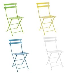 These French bistro inspired folding chairs are on sale now. The powder coated lacquered fold chairs are featured in five colors and can be used indoors or outdoors.
