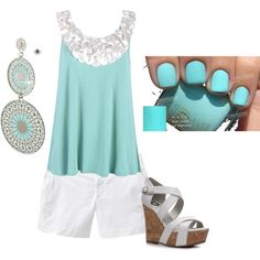 love the color and everything but the shoes..Would prefer a peep toe wedge of some cute sandals