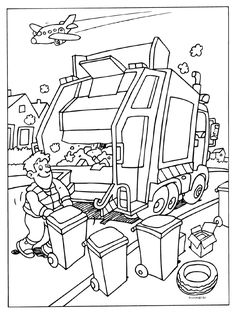 Coloring web page Rubbish truck - Rubbish collectors - Kleurplaten. Truck Coloring Pages, Colouring Pages, Coloring Sheets, Adult Coloring, Coloring Books, Community Helpers Worksheets, Garbage Truck Party, Rubbish Truck, Community Workers