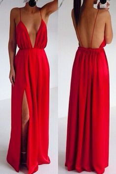 Sexy Red Deep V-neck Spaghetti Strap Backless Maxi Dress Prom Dresses >>> READ REVIEW @ http://dresses4share.blogspot.com/2016/01/sexy-red-deep-v-neck-spaghetti-strap.html?c=7567