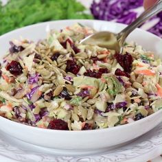 Crunchy, healthy, and completely addictive. This Copycat Sunflower Crunch Kale Cabbage Salad has it ALL going on!! #coldsalad #cabbagesalad #cookingvideo #copycatsalad #sunflowercrunchsalad #coleslaw #picnicsalad #healthysalad #kalesalad #cabbagesalad #driedcranberries #choppedsalad #copycatrecipe #