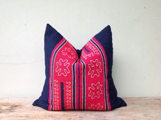 """Tribal Hemp Textile Decorative Throw Pillow Handmade Vintage Embroidered Organic Pillow Case 20"""" x 20""""  Pieces Of Tribal Costume"""