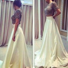2017 Custom Made Charming Two Pieces Prom Dresses, Beading Prom Dress,Short Sleeves Evening Dress