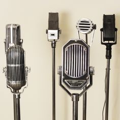 These are cool Vintage mics- A collection of 6 swivel head antique microphones circa All but one is chrome plated. These we bought from the estate of an ex-radio personality who collected them. Microphone Vintage, Radios, Lee Jordan, Beatles, The Get Down, The Moon Is Beautiful, Beautiful People, Art Antique, Night Vale