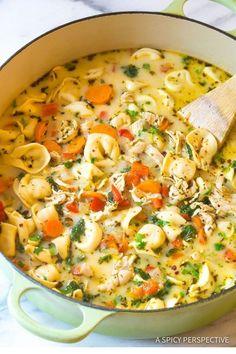 # Chicken Tortellini Soup # Creamy Chicken Tortellini Soup I have . - # Chicken Tortellini Soup Creamy Chicken Tortellini Soup I tried these soup recipes … an - Beef Soup Recipes, Healthy Soup Recipes, Ground Beef Recipes, Vegetarian Recipes, Healthy Lunches, Dinner Recipes, Chicken Recipes, Dinner Healthy, Easy Recipes
