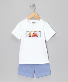 Look at this Fairies Kid White Circus Tee & Blue Gingham Shorts - Infant on #zulily today!