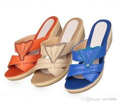 Large Size High End Fashion Sandals Women Slippers 2019 Summer Open Toe Sexy Genuine Leather Sandals Wedges Women Shoes Sandals Slipper Womens Ankle B. Shoes Boots Ankle, Women's Shoes Sandals, Wedge Sandals, Open Toe, Leather Sandals Flat, Leather Slippers, Girls Sandals, Women Sandals, Womens Slippers