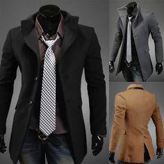 Wholesale Men's Fashion Slim Fit Single Breasted Long Jacket Coat