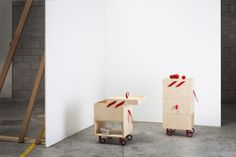 Ole' is a minimalist design created by Italy-based designer Valentina Carretta. The design is a wheeled cart in plywood, available in two different heights. The highest is dedicated to the kitchen, equipped with extractable cutting board, structure for garbage bag, drawer and open shelf. The smaller hides a convenient storage compartment. (1)