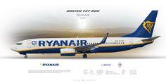 Boeing 737-800 Ryanair EI-FZF | Airliner Profile Art Prints | www.aviaposter.com | #airliners #aviation #jetliner #airplane #pilot #aviationlovers #avgeek #jet #sideplane #ryanair #b738 #b737