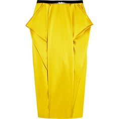 Toga Folded silk-satin pencil skirt (3,310 MXN) ❤ liked on Polyvore featuring skirts, bottoms, bright yellow, fold-over skirts, shiny skirt, fold-over maxi skirts, fold-over maxi skirt and yellow skirt