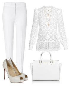 """BRANCO"" by ebramos ❤ liked on Polyvore featuring Michael Kors, Hillier Bartley, ESCADA, Christian Louboutin and Forever 21"