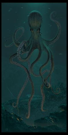 (99+) Following | Tumblr Octopus Painting, Octopus Art, Ocean Creatures, Mythical Creatures, Octopus Pictures, Kraken Art, Boat Drawing, Sea Monsters, Tatoo