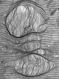 re pinned from Heidi Tyrvainen's Transparent board, using textiles to create a fine/ loose knit that reminds me of my messy knitting as a child. Relating to my theme and adding inspiration to my thought on my final outcome. Textile Texture, Textile Art, Zentangle, Fabric Manipulation, Textures Patterns, Fabric Textures, Fiber Art, Black And White, Artwork