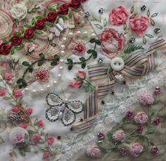 I ❤ crazy quilting, beading & ribbon embroidery . . . Rita's Encrusted DYB block, June 2013 ~By Hideko Ishida