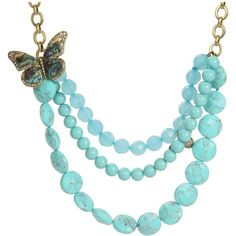 Fossil - Blue Bayou Butterfly Bead Necklace (Abalone/Turquoise/Clear... (2 050 UAH) ❤ liked on Polyvore featuring jewelry, necklaces, accessories, blue, joyas, women's jewelry, brass chain necklace, beaded necklaces, charm necklaces and blue turquoise necklace
