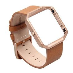V-Moro for Fitbit Blaze Band, Small Leather Bracelet Strap Replacement Band with Metal Frame For Fitbit Blaze Smart Fitness Watch (Camel Band   Rose Gold Frame-Small) -- Want to know more, click on the image.