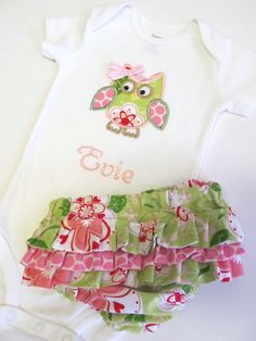 Personalized Owl Onesie and Ruffled Diaper by FunnyFarmCreations, $34.00