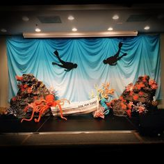 Under water theme 2016 deep sea discovery Stage design For KFC @ odpc - Gerda Gustavus Vbs Themes, Dance Themes, Ocean Themes, Under The Sea Decorations, Stage Decorations, Under The Sea Theme, Under The Sea Party, Homecoming Themes, Homecoming Hallways