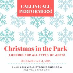 If you or someone you know would like to showcase their talents on the stage during this fun, family event on December 3rd or 4th, please email lgraves@cityofmesquite.com! #realtexasflavor #christmasinthepark #mesquitetx #vitsit #fun #travel #perform #performingarts #performers #talent #showcase #christmas #entertainment #festival #festivities #event