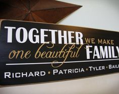 Custom Blended Family Sign- personalized with names- great for any large or blended families Vinyl Crafts, Vinyl Projects, Home Projects, Vinyl Decor, Wall Vinyl, Pallet Projects, Wall Art, Family Signs, Family Quotes