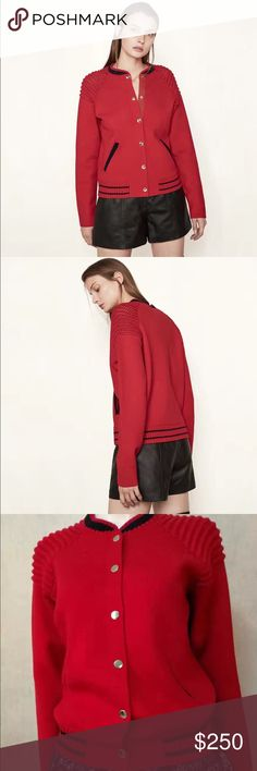 NWT Maje Made Bomber Jacket Red Bomber-jacket style knitted cardigan MADE. The cardigan puts a playful spin on certain bomber jacket codes in a hybrid version crafted in knit. It features a small high collar, piped pockets at the sides and a striped ribbed finish at the collar and hem. It fastens at the front with golden press studs and has knitted yokes on the shoulders. This up-to-the-minute piece will add a stylish touch to any outfit! Maje Jackets & Coats