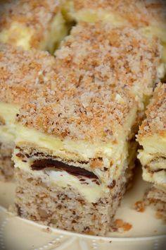 Ciasto szampańskie Polish Desserts, Polish Recipes, Sweet Recipes, Cake Recipes, Dessert Recipes, Sweets Cake, Cupcake Cakes, Polish Cake Recipe, Walnut Cake