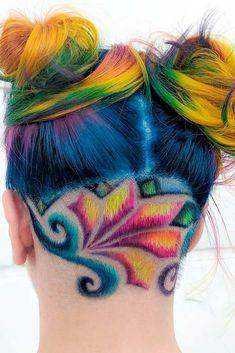Trendy Hair Color : Rainbow Undercut Design ❤️ A Brunette Can Look Like A Mermaid, Too! Undercut Pixie, Undercut Hairstyles, Funky Hairstyles, Pretty Hairstyles, Pixie Haircuts, Female Hairstyles, Shaved Hairstyles, Undercut Designs, Haircut Designs