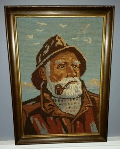 """Vintage Needlepoint Picture Old Man Sea Captain Framed Approx 10.5"""" x 15""""…"""