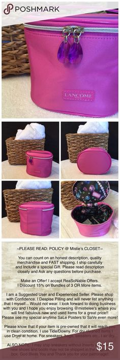 """🍃🌷Free w/$35 Cosmetic Purchase🌷🌿NWOT Made By: Lancome Canister Style Zip Around Cosmetic Bag. Free Standing... Purple Gem Zipper Pulls (cosmetic) Fully Lined. Has a Handle on Top. Material is Pink Satin Like. Measurements:  5.5""""TallX 6.25""""WideX 4.25""""Thick. Bag Stored: Never Used. Please see my other items. Special anytime sale/Bundle Posters to save even more. Thank you for browsing my closet. Lancome Bags Cosmetic Bags & Cases"""